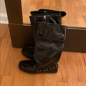 Brand new kids patent leather boots - car shoe